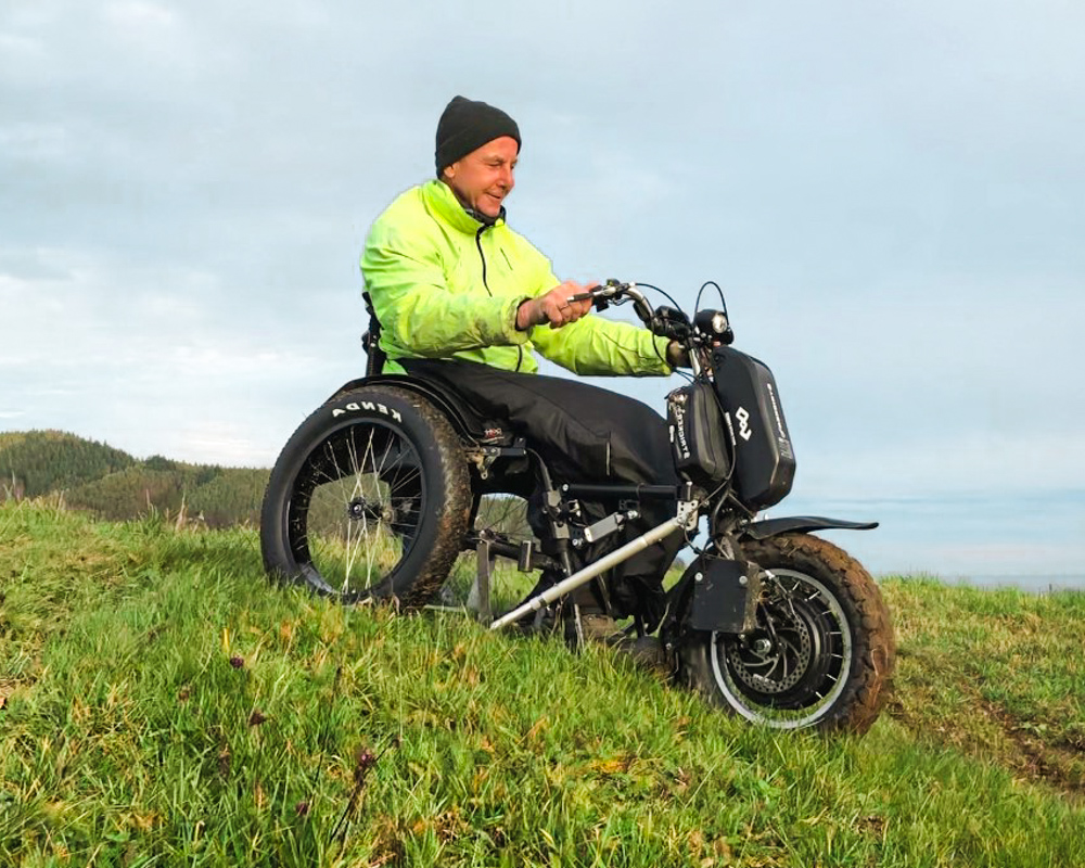 A sales representative on an adventurous crossbike test ride.